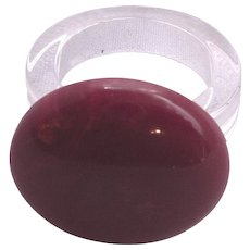 Bakelite and Lucite Button Dot Style Ring Rare Plum Purple Color