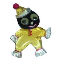 Lucite Black Americana Googley Eyed Clown Pin