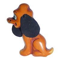 Wonderful Figural Bakelite Martha Sleeper Bakelite Sitting Dog Pin Brooch