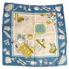 Vintage Children's Hankie Handkerchief MINT Mother's Little Helper