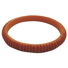 Deco Heavily Intricately Carved Narrow Butterscotch Bakelite Bangle Bracelet