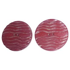 2 Vintage Large Black Cherry Red Bakelite Buttons with Ridgy Carving