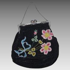 Vintage Multicolor Embroidered Floral Flowers Black Silk Purse Evening Bag