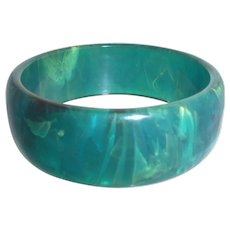Rare Gorgeous Bakelite Catalin Turquoise Dripping with Swirl Bangle Bracelet