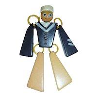 Vintage Figural Bakelite Jointed Articulated Sailor Man Figural Brooch Pin