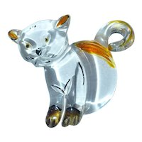 Scarce ** Clear Lucite Cat Kitten Kitty Pin Brooch ** a different one!