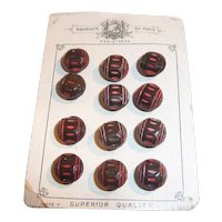 Black & Red Czech Glass Buttons Made For Paris Design Original Card