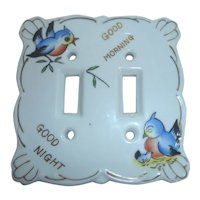 """Vintage Japan Ceramic Double Light Switch Plate Cover Birds """"Good Morning / Good Night"""""""