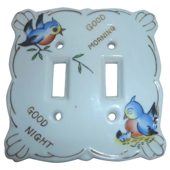 "Vintage Japan Ceramic Double Light Switch Plate Cover Birds ""Good Morning / Good Night"""