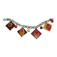 Vintage Bakelite Flowers In A Pot Charm Bracelet Loaded with Shapes and Colors