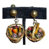 Vintage 1940s West German Straw Basket of Celluloid Fruit Earrings Carmen Miranda