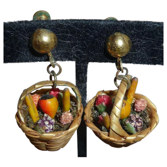 Vintage 1940s West German Straw Basket of Celluloid Fruit Earrings Carmen Miranda