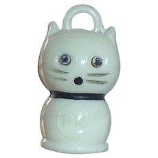 Vintage Plastic Cracker Jack Gumball Toy Kobe Style Kitty Cat Charm Pop Out Eyes