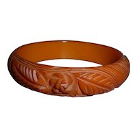 BAKELITE Bangle Bracelet Gorgeous Pumpkin Orange Carved Roses Leaves Spiral Lines