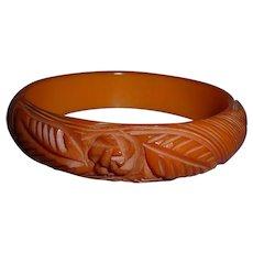 BAKELITE Bangle Bracelet Gorgeous Pumpkin Orange Carved Roses Leaves Spiral Lines