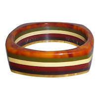 RARE Bakelite Square 6 Colors Striped Laminated Bangle Bracelet