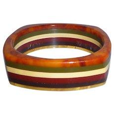RARE Bakelite Square 6 Colors Striped Laminated Bangle Bracelet