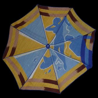 Rare Vintage Handkerchief Hankie Woman & Man Under A Beach Umbrella at the Shore