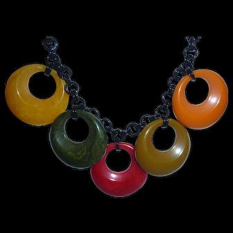 Gorgeous 6 Color Bakelite Hoop Rings Necklace