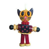 Colorful Bakelite Button Bead Doll Cat Crib Toy Charm Pendant Red/Crm/Blk