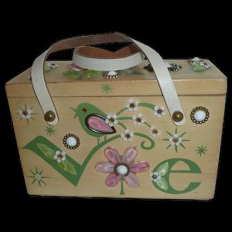 1969 Designer Enid Collins Wooden Valentine's Box Purse  LOVE Birds & Flowers Spring Fling