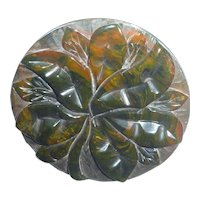 Bakelite Pin Brooch End of Day Carved Flower