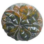 Bakelite Pin Brooch End of Day Carved Flower
