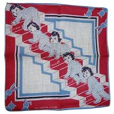Vintage Signed Tom Lamb Child's Handkerchief Hanky Dionne Quints Quintuplets