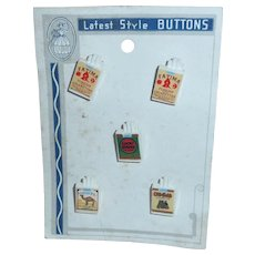 5 Plastic Cigarette Packs Vintage Buttons on Original Card