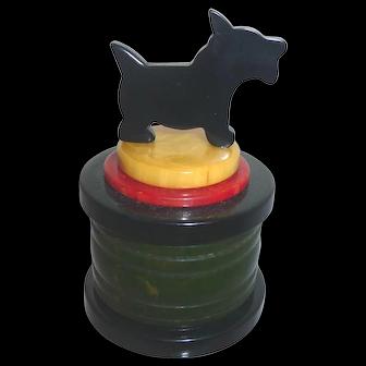 MultiColor DECO STYLE BAKELITE Ring Trinket Jewelry Powder Vanity Box Scotty Top