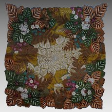 Gorgeous Vintage Fall Florals and Ferns Hanky Handkerchief Hankie