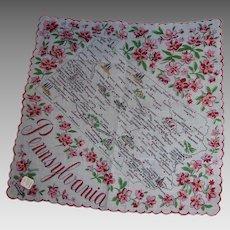 Vintage Souvenir Pennsylvania State Hanky Handkerchief Hankie