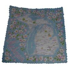 Vintage Souvenir Michigan State Hanky Handkerchief Hankie