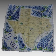 Vintage Souvenir Texas State Hanky Handkerchief Hankie