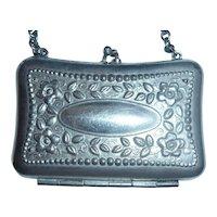 Small Vintage Silver Accordion Change Purse