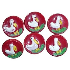 Button: 6 Red Glass Children's Baby Buttons w/ White Ducks
