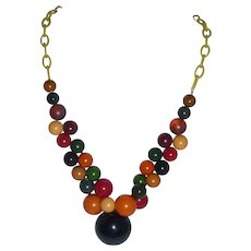 Bakelite Colorful Ball Button Necklace