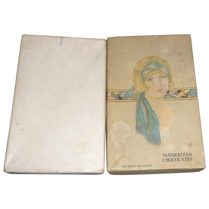Vintage 1920s-1930s Candy Box with Flapper Girl Lid