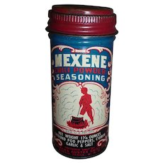 Vintage Mexene Spice Tin Great Graphics with Devil