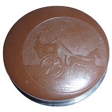 Bakelite Plastic Powder Compact Brown/Black Horse Drawn Carriage & Driver