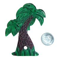 Vintage Lucite Carved Double Palm Trees Reverse Painted  Pin Brooch