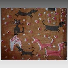 Vintage Printed Cotton PAT PRICHARD Hankie Handkerchief Black Cats & Dachshund Dogs