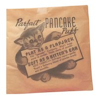 Parfait Pancake POWDER PUFF for Replacement Compact Makeup 40s 50s Unused Cute Cat