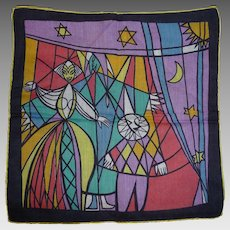 Vintage Printed Cotton Hankie Handkerchief Stained Glass Type Design