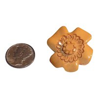 Bakelite Button Chunky Multi Carved Figural Realistic Goofy Flower