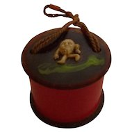 Bakelite & Celluloid Tiny Humpty Dumpty Ring Box, Doll Purse or Hat Box