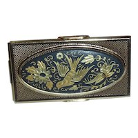 Beautiful Vintage Damascene Bird Purse Compact Lipstick Holder & Mirror