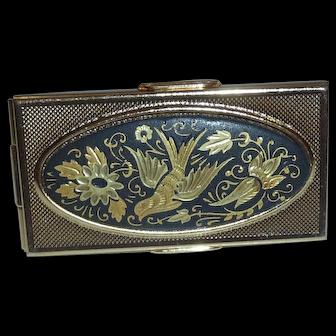 Beautiful Vintage Damascene Bird Purse Compact Lipstick Holder & Mirror