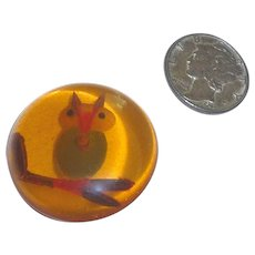 Vintage BAKELITE Apple Juice reversed carved PAINTED OWL on branch button