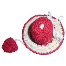 Vintage hand made Red/White Crochet Hat/Bonnet Pin Cushion w/ Tiny Purse Pocket
